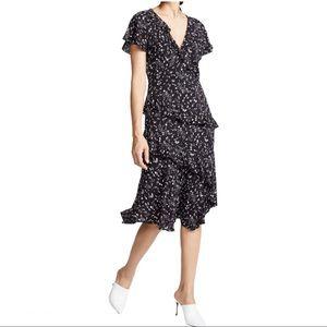 Joie Orita Ruffled Floral Print Midi Dress